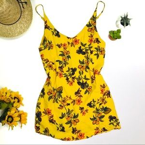 [Urban Outfitters] Yellow Floral Mini Dress Medium